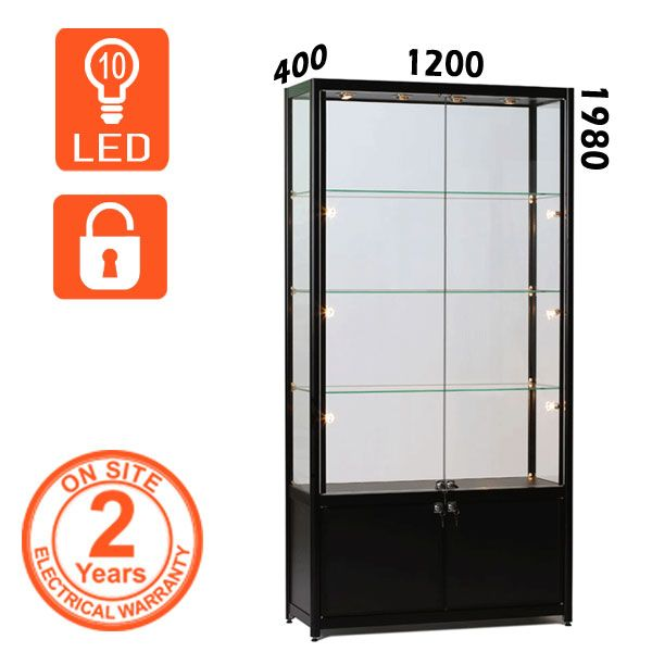 This Black School Trophy Cabinet is ideal to show your school awards. Our cabinet includes storage and lockable doors with LED lighting as standard.  Whether you are looking for a central isle display or a freestanding Display Cabinet, these Display Cabinets will showcase your products and promote your brand to the best effect.  - 10 Adjustable LED Lights - Built to EU specifications - 3 Adjustable tempered glass shelves - Lockable tempered glass doors.