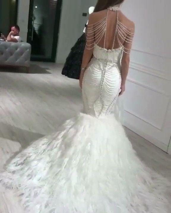 Beaded white wedding dress