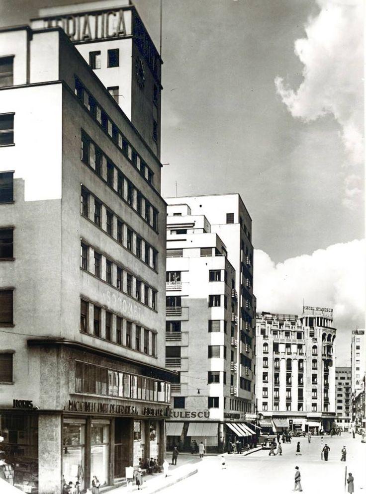 Strada Regala colț cu Calea Victoriei, anii '30.