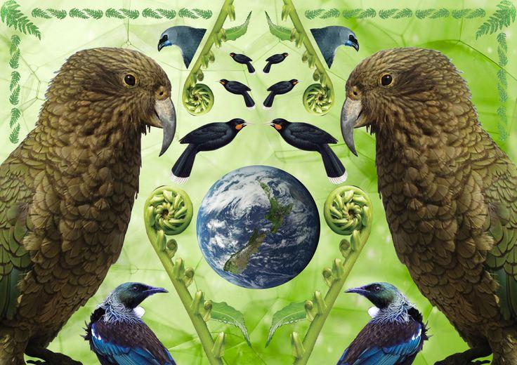 NZ Flora and Ferna Coloured Pattern By Dean Hendricks
