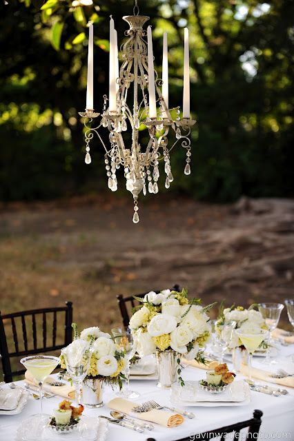 A table set under the stars. Gorgeous concept for a vintage wedding