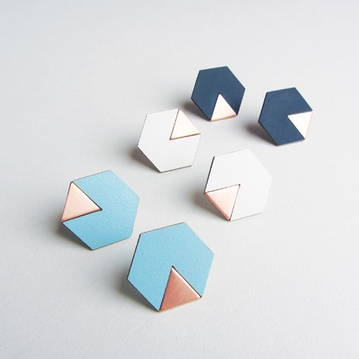 Copper and Formica hexagon earrings. Collection 2014