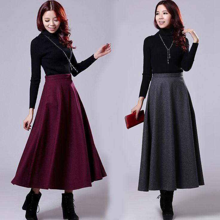 Дамы красный плиссированные длинные юбки осень зима шерстяные линии высокой талией тонкий элегантный Большой размер макси юбка для женской одежды 2016купить в магазине Stars Cielo ClothingнаAliExpress