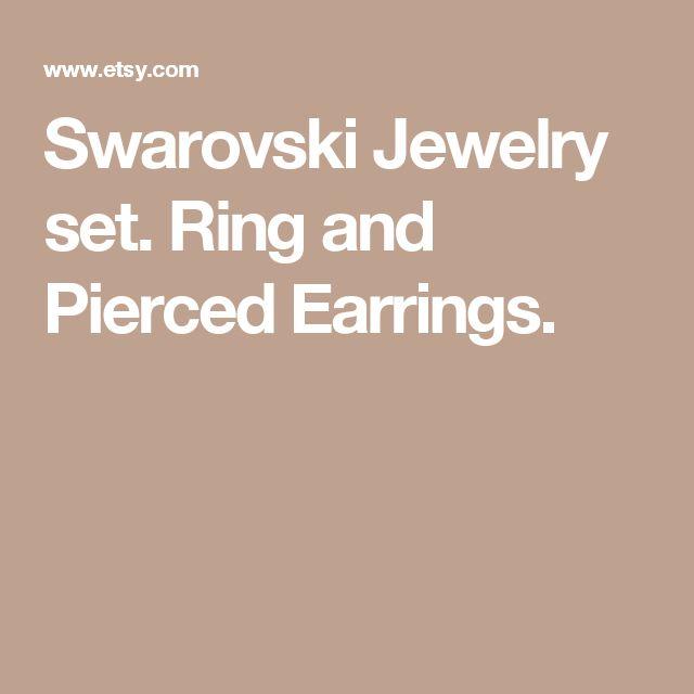Swarovski Jewelry set. Ring and Pierced Earrings.