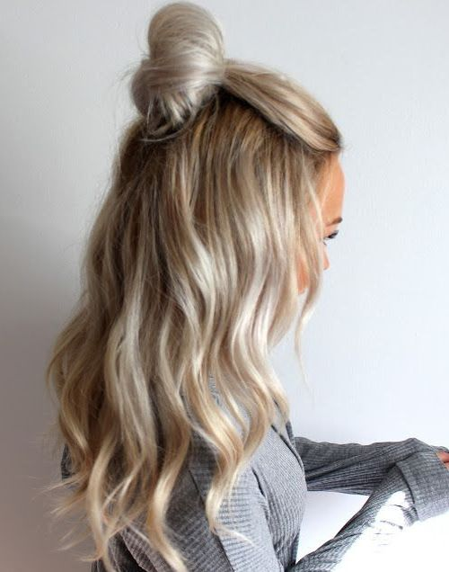 Blonde half-up top knot hairstyles trends for winter 2016 - 2017