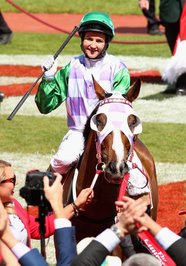Michelle Payne, the first female jockey to win a Melbourne Cup.  v@e.