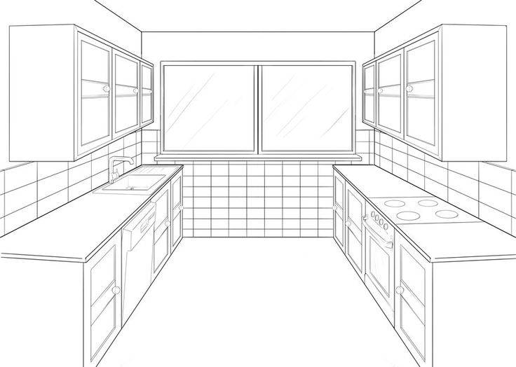 Kitchen perspective drawing one point perspective for Room design template grid