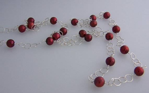 Long Designer Pearl Necklace  Cranberry Red by Nature's Splendour®