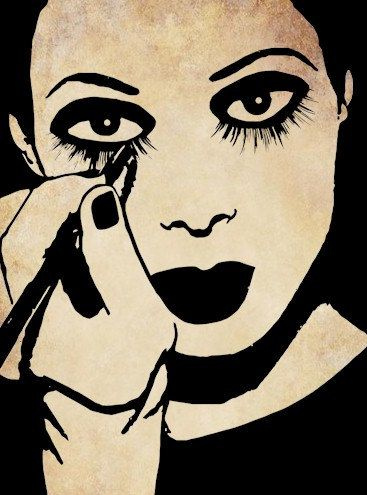 Mime woman putting on makeup clip art stamp png file Digital graphics Image Download to make Pillows Totes Towels t-shirts CARDS ETC. $1.99, via Etsy.