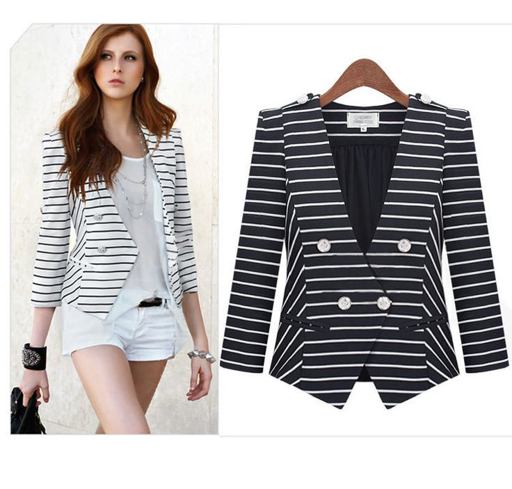 Fashion Lapel Stripes Long Sleeve Blazer For Women