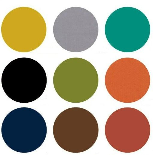 Mid Century Modern Color Chart The predominate color palette for Mid Century Modern was earth-tones with olive green, pumpkin, mustard and umber popular.