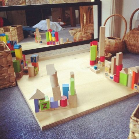 A block corner with a hard wooden base so children have less trouble building. A reggio block corner.
