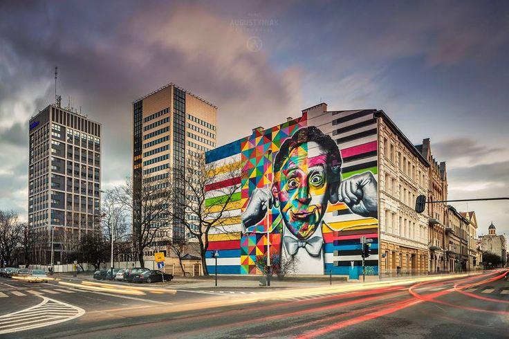 Poland, Lodz ul Sienkiewicza Mural