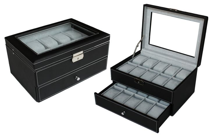 Luxury Black leather watch box display Watches storage case 20 watches  $129.95  Size: 288*205*154 mm Elegant design with black faux leather finished Pillow size 45x70mm Store up to 20 watches Crystal Clear acrylic top brilliant Soft gray velvet
