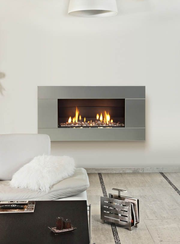 "ST900 EsceaDirect vent gas fireplace with stainless steel front, 45""x22"""