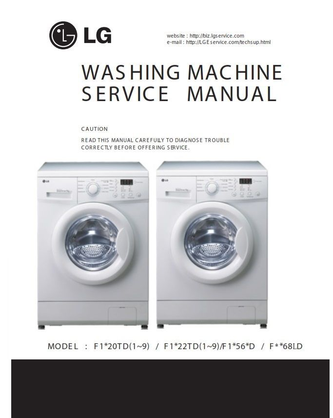 Lg F1068ld Washing Machine Service Manual And Repair Guide Washing Machine Service Washing Machine Washing Machine Installation