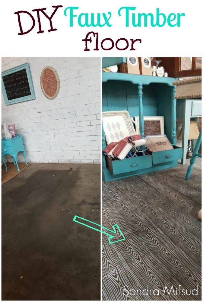 Sandra Mifsud shares how she transformed her boring concrete floor to a trendy wood grain effect floor using a roller and webster paint!