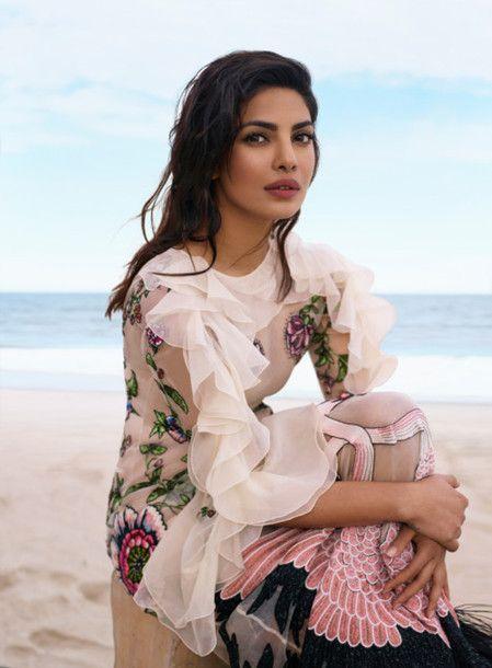 Dress: tumblr ruffle ruffle white mesh mesh floral embroidered embroidered editorial priyanka chopra