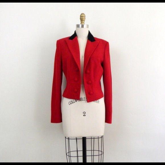 RALPH LAUREN Fitted Hunt JacketHost Pick 7/15 Beautiful red jacket with black velvet collar Ralph Lauren Jackets & Coats