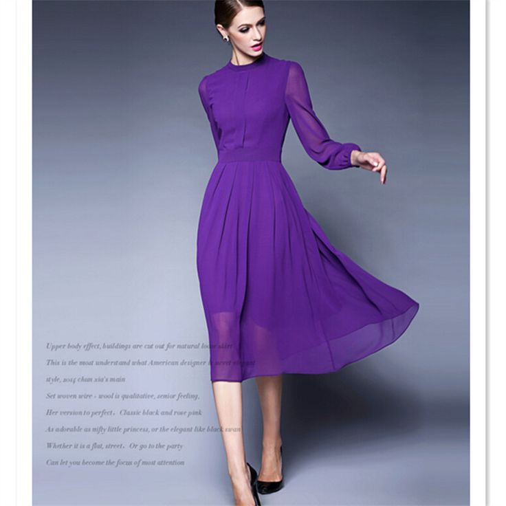 Autumn Spring 6XL 7XL Customized Purple Solid Long Sleeve Swing Vintage Chiffon Ladies Dress Casual A-Line Maxi Boho Dress