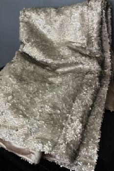 Luxury Sequin and Velvet Bedspread Throw - Pale Gold