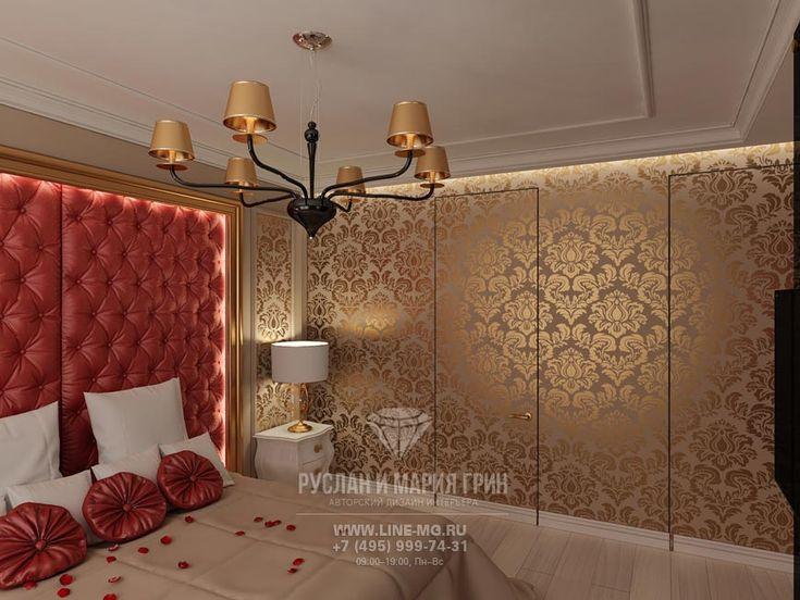 Золотистые обои с спальне  http://www.line-mg.ru/marshala_zaharova_-_spalnaya/