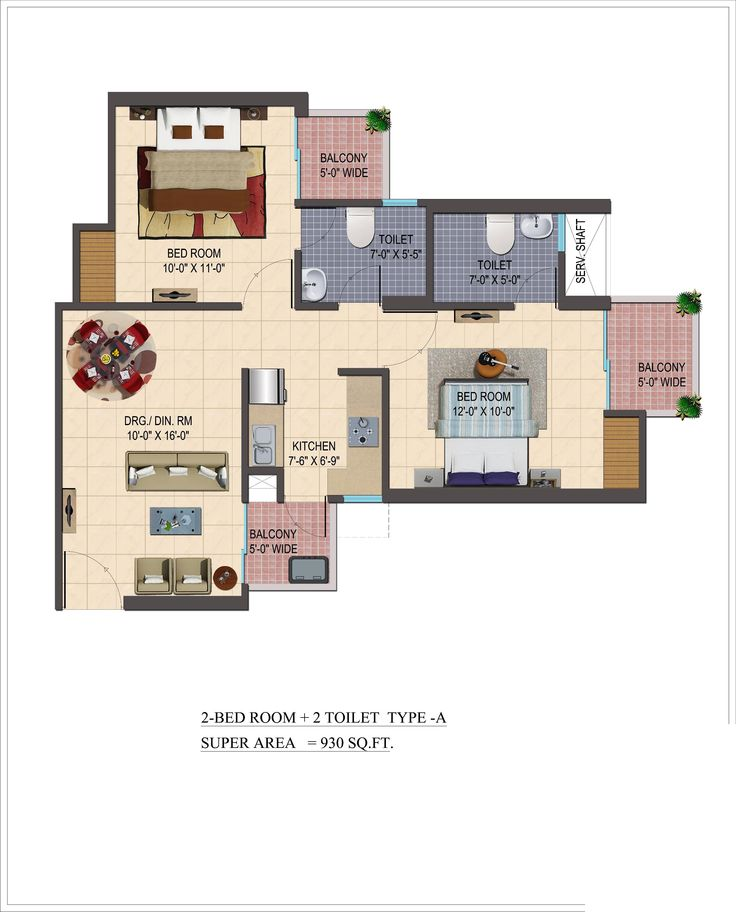 The Super area for 2bhk flats in Shivalik homes 2 is available in Three Different Sizes And Layout that are 930 Sq. Ft., 960 Sq. Ft., 1095 Sq. Ft.
