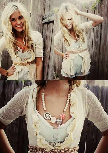 So cute!Fashion, Outfitters Cardigans, Style, Urban Outfitters Clothes Boho, Clothing, Cute Outfits, Urban Chic Boho, Ruffles Layered, Belts