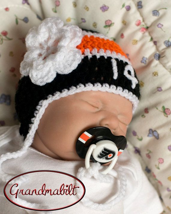 PHILADELPHIA FLYERS PACIFIER  Baby Girls Hockey by Grandmabilt, $31.00