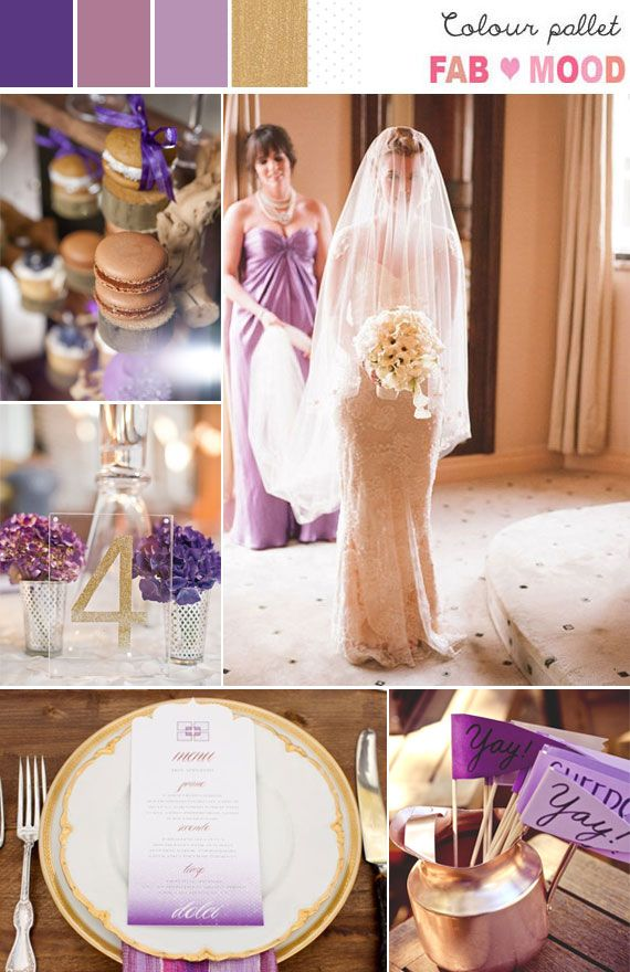 lavender gold wedding colors, purple gold wedding ideas | http://fabmood.com/lavender-lilac-purple-gold-wedding-palette/