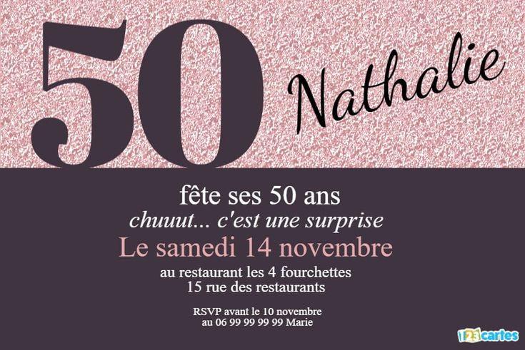 50 ans paillettes et vie tout unie - Invitation anniversaire   Invitation anniversaire 50 ans ...