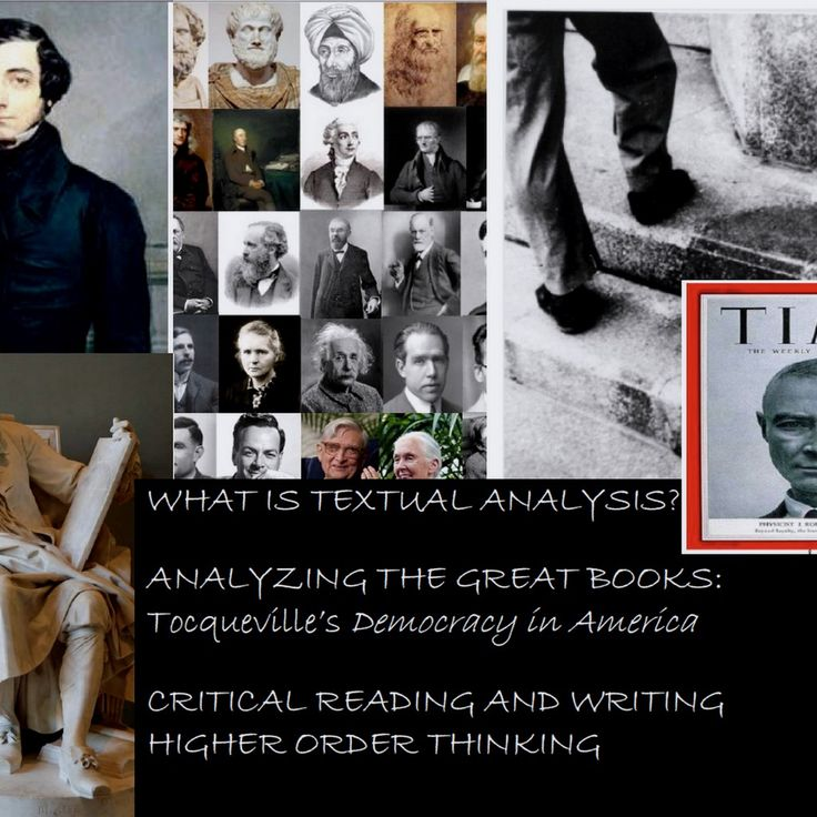 WHAT IS TEXTUAL ANALYSIS? CRITICAL THINKING, READING, and WRITING. The ELA CCSS require students to learn how to read texts carefully; This is a self-contained unit on textual analysis. Everything you need is here. Included: ➢A small excerpt, having to do with science, from Tocqueville's Democracy in America. ➢Suggestions on how to read the text at different levels. ➢A breakdown of the excerpt sentence by sentence with writing prompts ➢Group and individual Qs AND MORE $