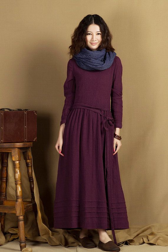 Maxi Linen Dress in Purple / Long linen winter by camelliatune