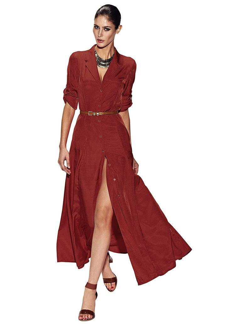 Sukienka szmizjerka Długi koszulowy • 79.99 zł • bonprix