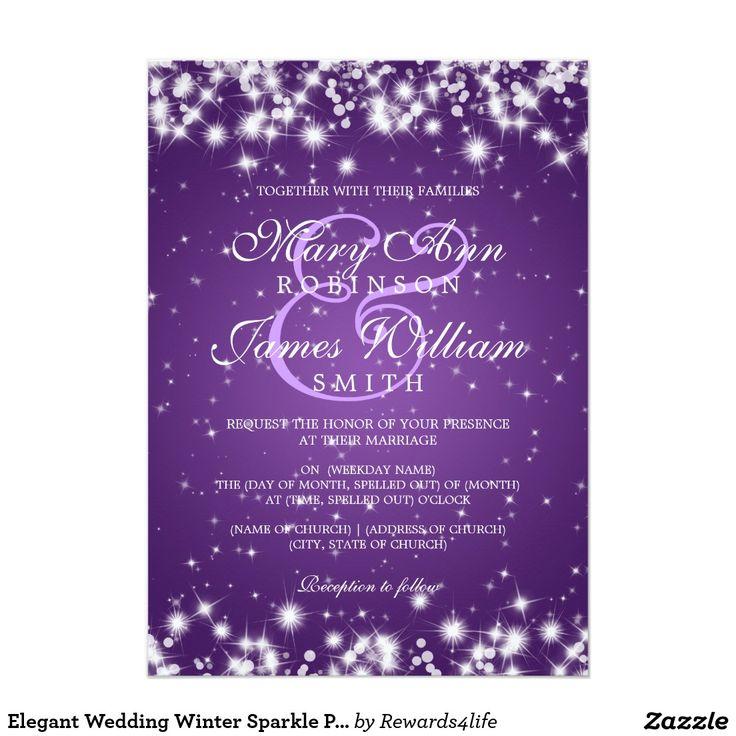 Elegant Wedding Winter Sparkle Purple 5x7 Paper Invitation Card