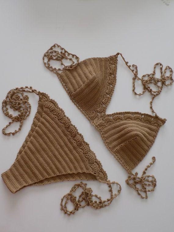brown crochet bikini Boho Bikini Crochet Vintage by pompomhats