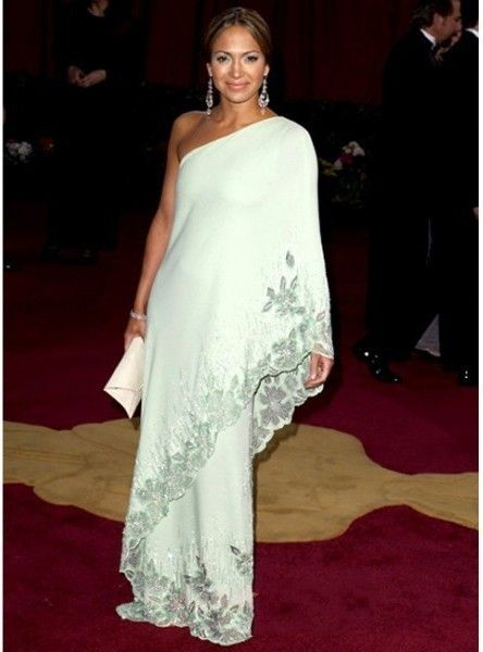 Aliexpress.com: Compre De Jennifer Lopez vestidos celebridade de um ombro apliques Natural Chiffon vestido de festa luz verde vestido de confiança vestido de gravata fornecedores em Veilonly Dresses Store