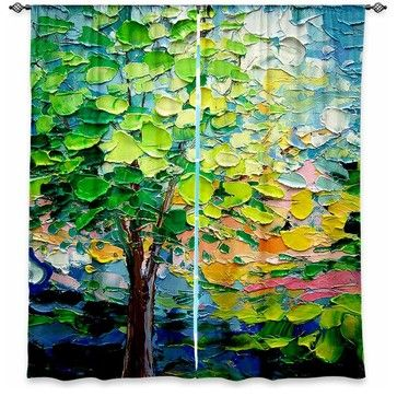 DiaNoche Unlined Window Curtains by Aja-Ann Story of the Tree xxvii - Contemporary - Curtains - by DiaNoche Designs