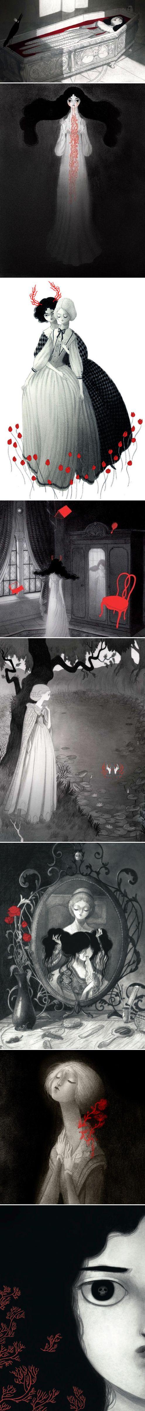 Isabella Mazanti's illustrations for Sheridan Le Fanu's Carmilla => noir et blanc + objet mis en évidence à l'aide d'une couleur