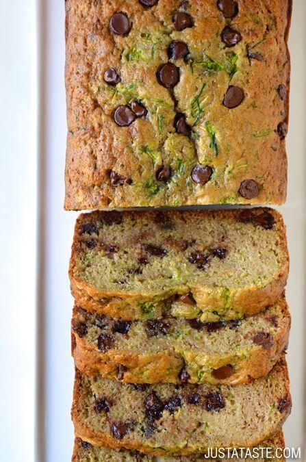 Chocolate Chip Zucchini Bread | http://www.justataste.com/2014/08/best-chocolate-chip-zucchini-bread-recipe/