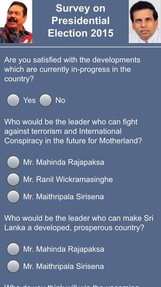 This is just a online poll for mobile app users. A Unique free application is for all people across the world. It has 4 Questions of Surveying of Sri Lanka 2015 Elections. These 4 Questions are available in 3 languages. You can select any language and select option corresponding questions. Download and Participate Today https://itunes.apple.com/us/app/campaign-survey/id951260508…