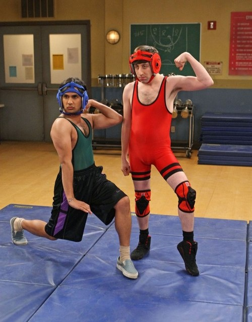 Howard and Raj wrestle. Leonard acts as referee. One of the funniest Big Bang Theory episodes ever.