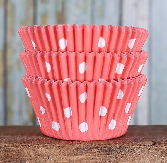 Coral Cupcake Liners: Polka Dot | www.bakerspartyshop.com - 1