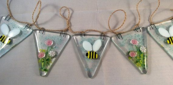 Fused Glass Bunting Bumble Bee and Pink by ArtGlassByJessica garland inspiration for spring mother's day or Easter celebrations to make or buy