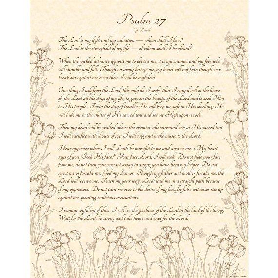PSALM 27114 NIV Calligraphy Art Print 11x14 On by VintageVerses, $10.00