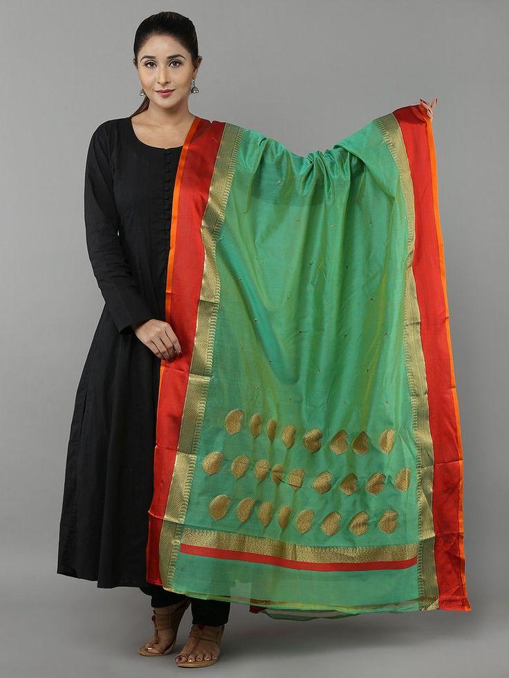 Green Red Cotton Silk Banarasi Dupatta