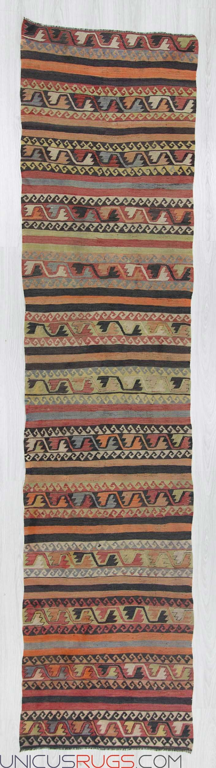 "Vintage kilim runner from Malatya region of Turkey. In good condition. Approximately 50-60 years old Width: 2' 10"" - Length: 12' 1"" RUNNERS"