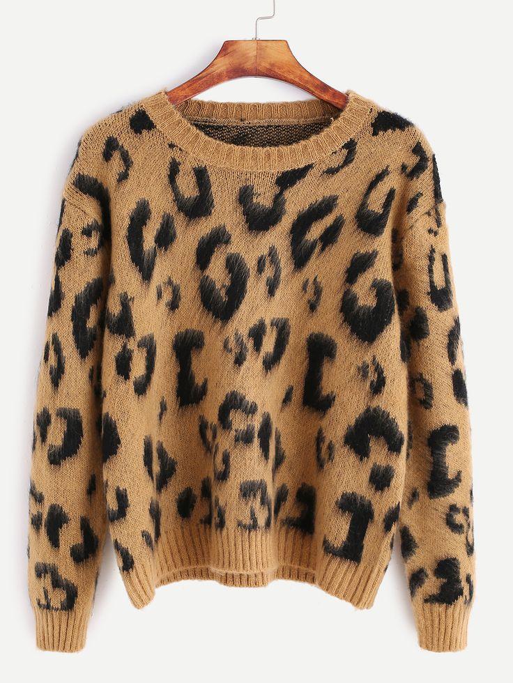 Negozio Maglione Maniche Lunghe Stampa Leopardo - Khaki on-line. SheIn offre Maglione Maniche Lunghe Stampa Leopardo - Khaki & di più per soddisfare le vostre esigenze di moda.