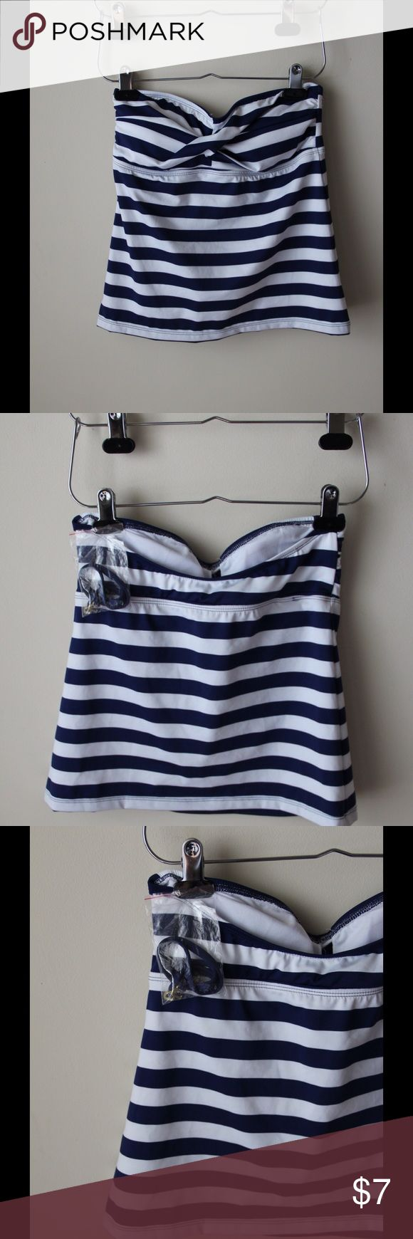 Navy blue and white tankini top Navy blue and white striped tankini top - removable padded cups - halter style detachable string - new! - size S Mossimo Supply Co. Swim Bikinis