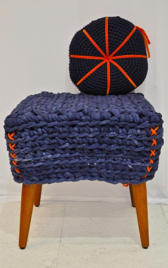 Cool 38 Soft And Comfy Knitted Furnishing Pieces For Fall And Winter : Cozy  Knitted Furniture With White Wall Purple Orange Fabric Chair Design And  Ceramic ...
